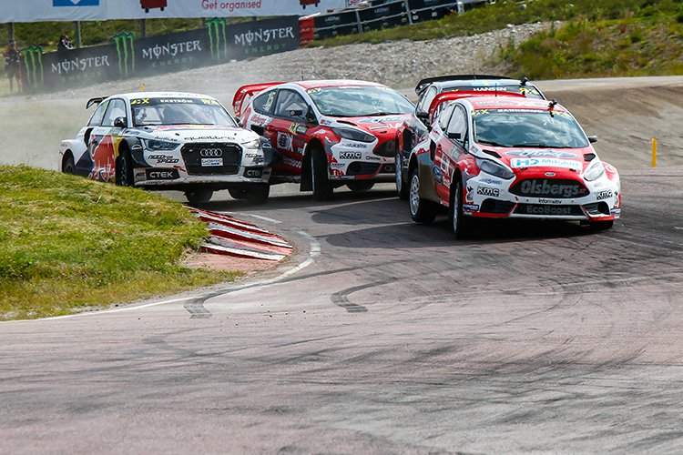 Bakkerud leads Hansen, Nitiss and Ekstrom at Holjes, Sweden - Credit: IMG / FIA WorldRX