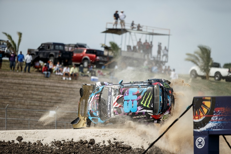 Ken Block's title challenge was derailed in Barbados - Credit: Larry Chen/Red Bull Global Rallycross