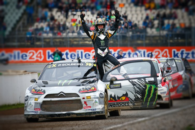 Solberg celebrates at Hockenheim