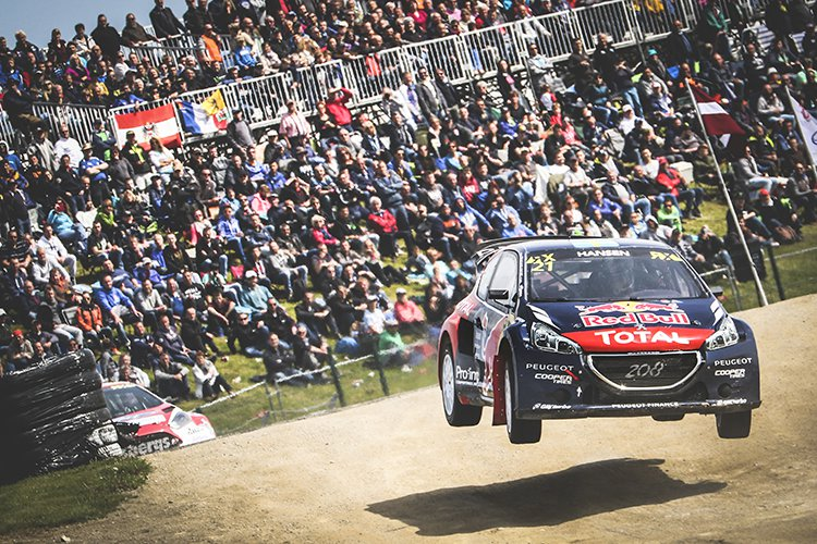 Timmy Hansen flying across the jump at Mettet - Credit: @tWorld / Red Bull Content Pool