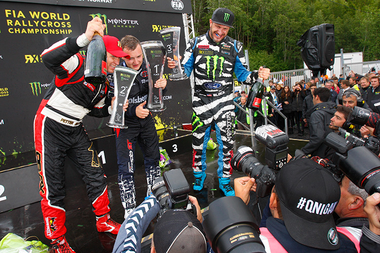 Block on the World RX podium in Norway 2014 - Credit: IMG / FIA World RX