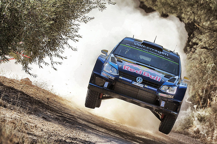Mikkelsen flying through the air on his way to victory in Spain - Credit:@World