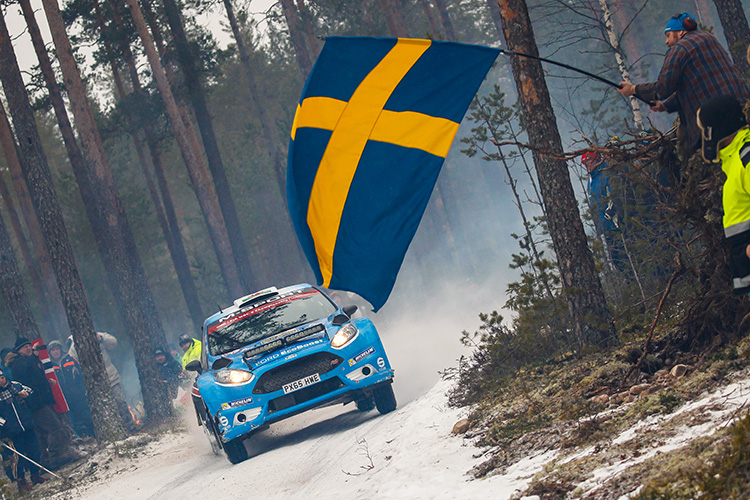 Elfyn Evans continues his run at the top of WRC2, picking up where he left off at the Monte. (Credit: McKlein/M-Sport.)