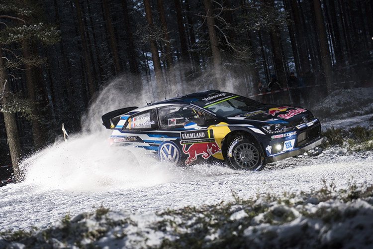 Sebastien Ogier (FRA) performs during during the FIA World Rally Championship 2016 in Karlstad, Sweden on February 13, 2016 // Jaanus Ree/Red Bull Content Pool // P-20160213-00203 // Usage for editorial use only // Please go to www.redbullcontentpool.com for further information. //