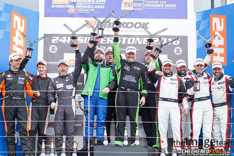 The overall podium for the Hankook 24H Silverstone. 1st: Rollcentre Racing Team Abba, 2nd Red Camel Jordans.nl, 3rd Memac Ogilivy Duel Racing.