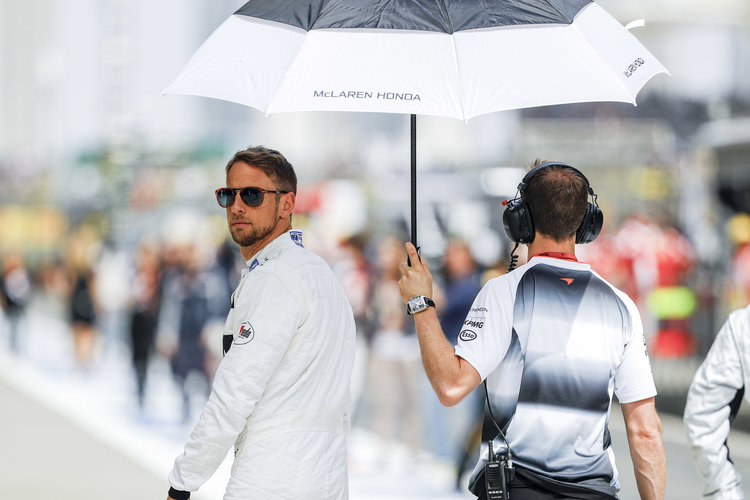 Jenson Button in the pitlane.