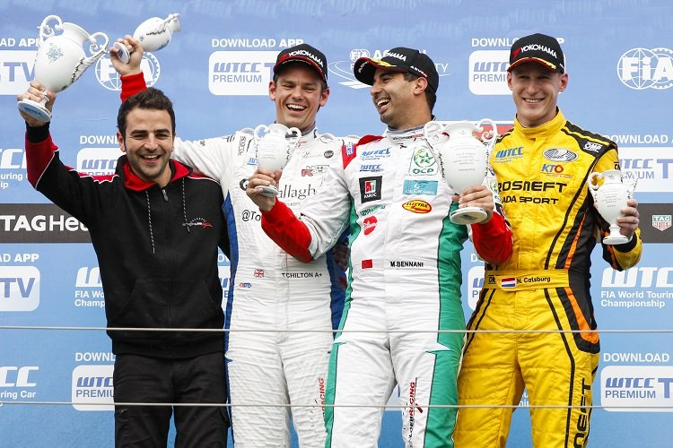 Podium of race 1. BENNANI Mehdi (mar) Citroen C Elysee team Sebastien Loeb racing, CHILTON Tom (gbr) Citroen C Elysee team Sebastien Loeb racing, CATSBURG Nicky (ned) Lada Vesta team Lada Sport Rosneft during the 2016 FIA WTCC World Touring Car Race of Hungary at hungaroring, Budapest from April 22 to 24, 2016 - Photo Florent Gooden / DPPI