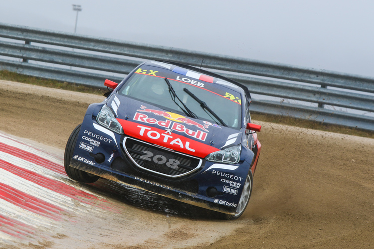 Nine-time WRC champion Loeb battling with the elements - Credit: FIA World Rallycross Championship / IMG