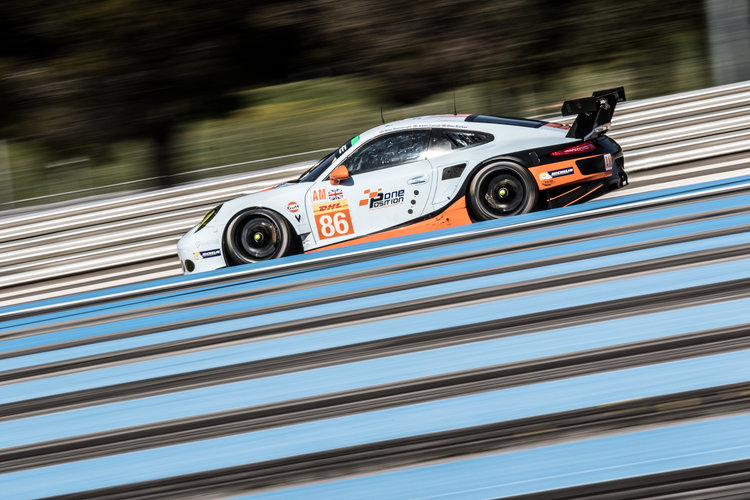 Car #86 / GULF RACING / GBR / Porsche 911 RSR / Michael Wainwright (GBR) / Adam Carroll (GBR) / Benjamin Barker (GBR) - WEC Prologue at Circuit Paul Ricard - Le Castellet - France -