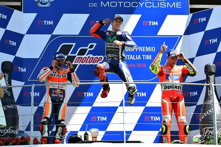 Lorenzo celebrates his Mugello victory (Photo Credit: Michelin)