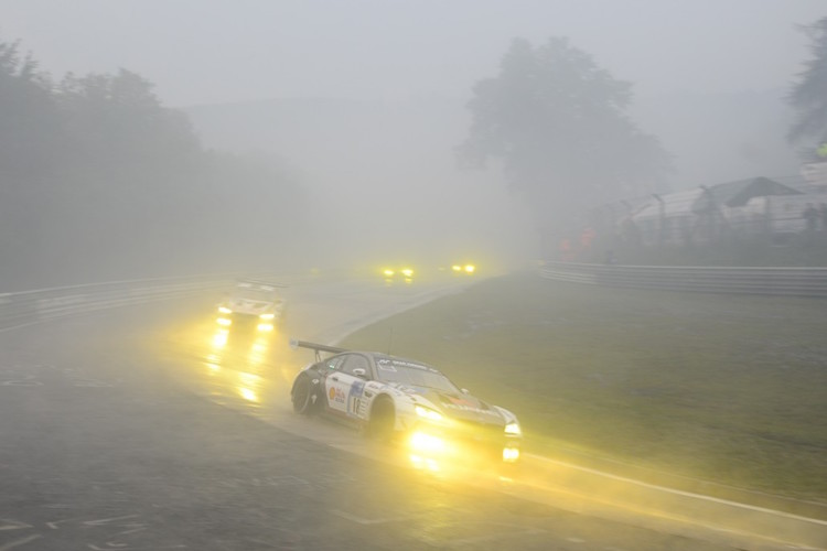 The Schubert Motorsport BMW has battled through extreme conditions on the Nurburgring (Credit: Gruppe C/Nurburgring 24 Hours)