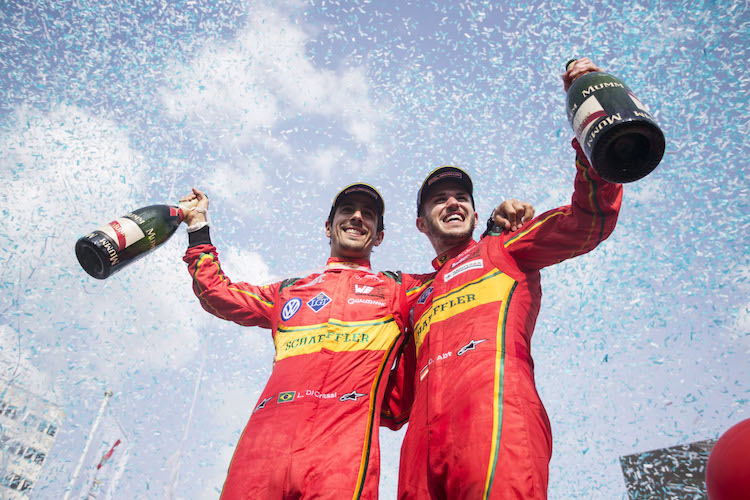 2015/2016 FIA Formula E Championship. Berlin ePrix, Berlin, Germany. Saturday 21 May 2016. Lucas Di Grassi (BRA), ABT Audi Sport FE01 and Daniel Abt (GER), ABT Audi Sport FE01  Photo: Andrew Ferraro/LAT/Formula E ref: Digital Image _14P4754