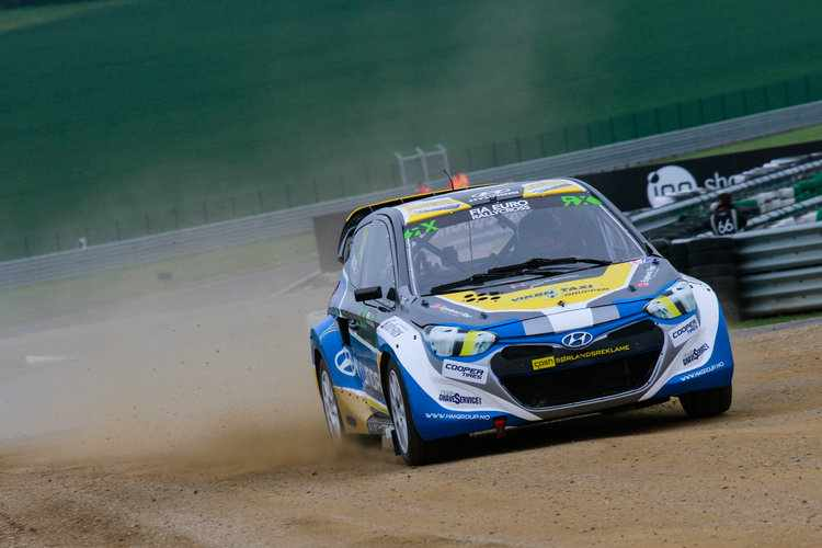 Frode Holte in his Hyundai i20 Credit: IMG / FIA World RX