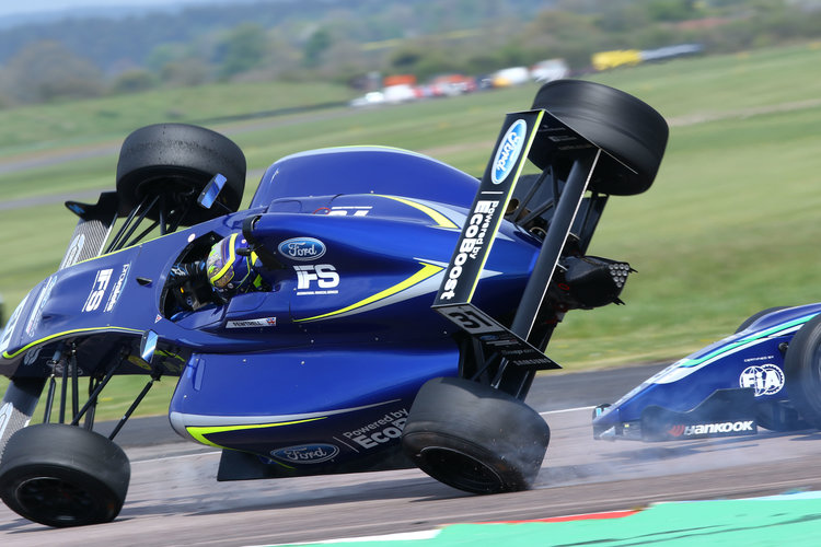 Fewtrell was sent flying as the Carlin cars came together (Credit: F4 British Championship)