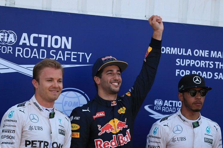 Daniel Ricciardo / Nico Rosberg / Lewis Hamilton - Credit: Octane Photographic Ltd