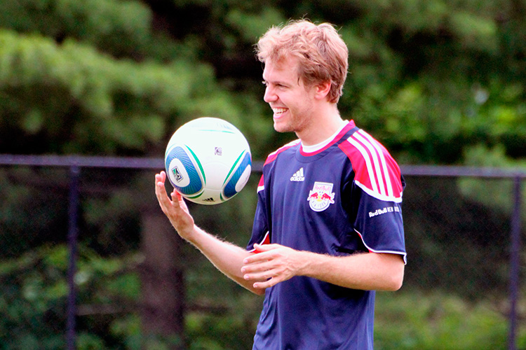 Vettel practices with New York Red Bulls in 2011 - Credit: Katharina Krutisch/Red Bull Content Pool