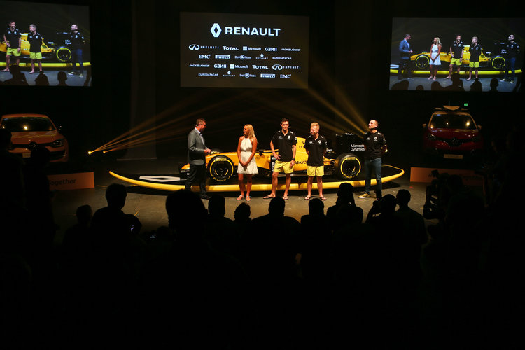 (L to R): David Croft (GBR) Sky Sports Commentator; Ellie Jean Coffey (AUS) Pro Surfer; Jolyon Palmer (GBR) Renault Sport F1 Team; Kevin Magnussen (DEN) Renault Sport F1 Team; and Cyril Abiteboul (FRA) Renault Sport F1 Managing Director at the Renault Sport F1 Team RS16 livery reveal. Renault Sport F1 Team RS16 Launch, Wednesday 16th March 2016. Albert Park, Melbourne, Australia.