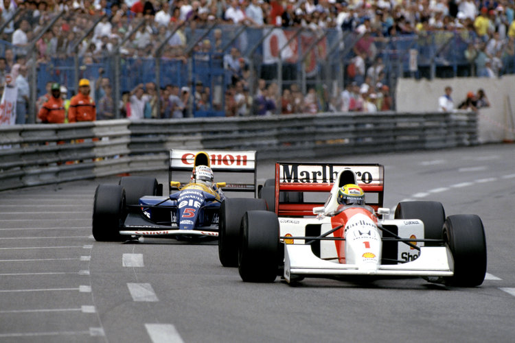 1992 Monaco Grand Prix. Monte Carlo, Monaco. 28-31 May 1992. Ayrton Senna (McLaren MP4/7A Honda) 1st position with Nigel Mansell (Williams FW14B Renault) 2nd position close behind, trying to pass in the last few laps of the race. Ref-92 MON 22. World Copyright - LAT Photographic