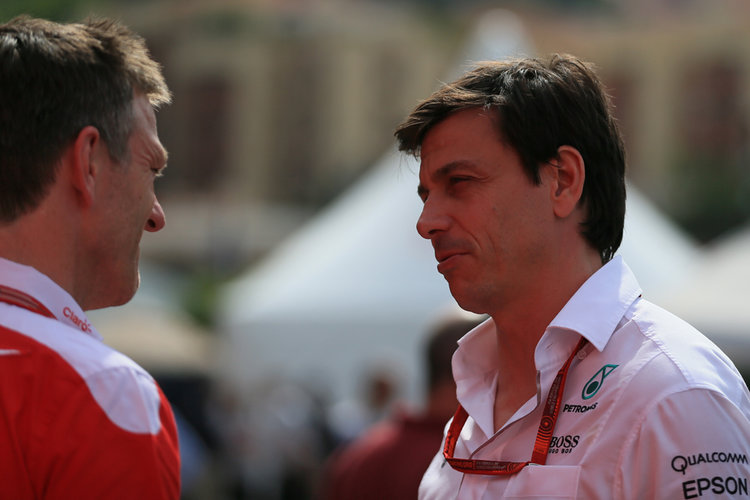 World © Octane Photographic Ltd. Mercedes AMG Petronas - Toto Wolff and Ferrari James Allison. Saturday 28th May 2016, F1 Monaco GP - Paddock, Monaco, Monte Carlo. Digital Ref : 1571LB1D0831 - Credit: Octane Photographic