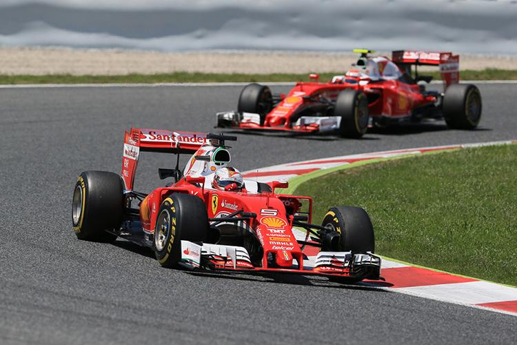 Sebastian Vettel leads Ferrari team-mate Kimi Raikkonen - Credit: Octane Photographic