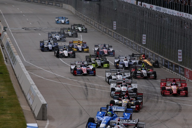 Detroit Race 2 Start - Credit: Bret Kelley / IndyCar