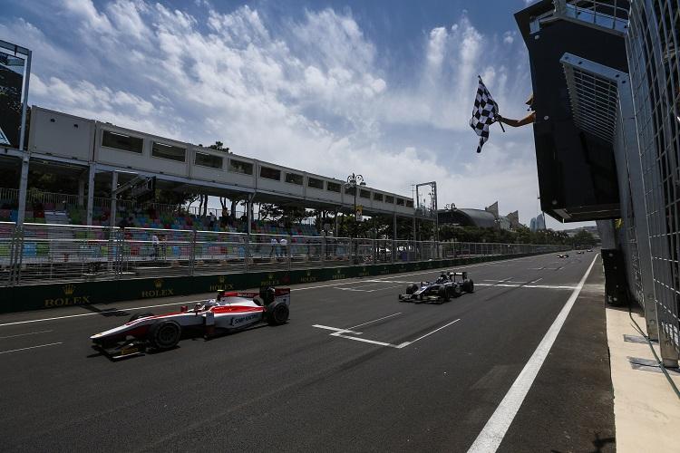 Sergey Sirotkin beats Raffaele Marciello to the line - Credit: Sam Bloxham/GP2 Series Media Service