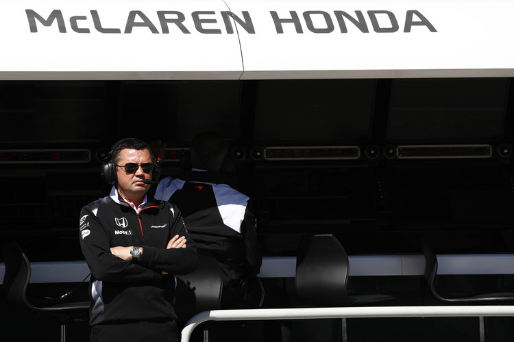 Eric Boullier on the pit wall. Credit: McLaren Media Centre