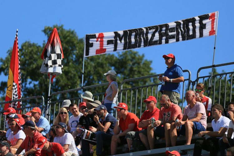 "World © Octane Photographic Ltd. ""F1-Monza = No F1"" banner. Sunday 6th September 2015, F1 Italian GP Race, Monza, Italy. Digital Ref: 1419LB5D9151"