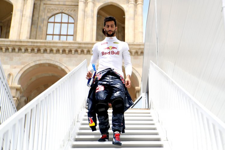 BAKU, AZERBAIJAN - JUNE 17: Daniel Ricciardo of Australia and Red Bull Racing walks from the paddock to the garage before practice for the European Formula One Grand Prix at Baku City Circuit on June 17, 2016 in Baku, Azerbaijan.  (Photo by Mark Thompson/Getty Images) - Credit: Red Bull Content Pool