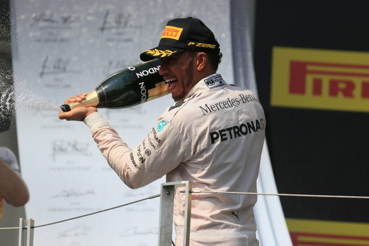 Hamilton's celebrating his fifth victory this season in Hungary