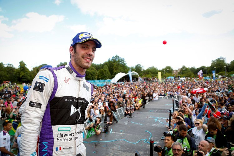 The Podium. Jean-Eric Vergne (FRA), DS Virgin Racing DSV-01. London e-Prix, Battersea, London, United Kingdom.   Saturday 2 July 2016 Photo: Adam Warner / LAT / FE ref: Digital Image _L5R2574