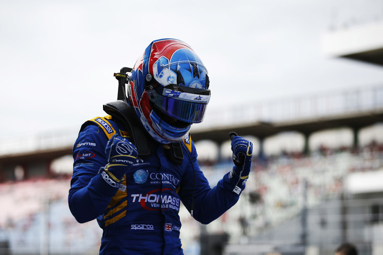 Jake Hughes (GBR, DAMS) celebrates after taking the victory. 2016 GP3 Series Round 5 Hockenhiem, Germany Sunday 31 July 2016  Photo: /GP3 Series Media Service ref: Digital Image _W2Q2526