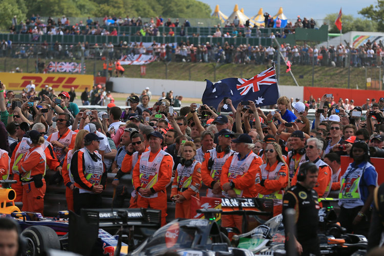 World © Octane Photographic Ltd. Saturday 5th July 2014. British GP, Silverstone, UK. - Formula 1 Podium. The crowd under the podium. Digital Ref: 1027LB1D1804