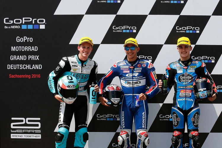 The top three qualifiers in Germany (Photo Credit: MotoGP.com)