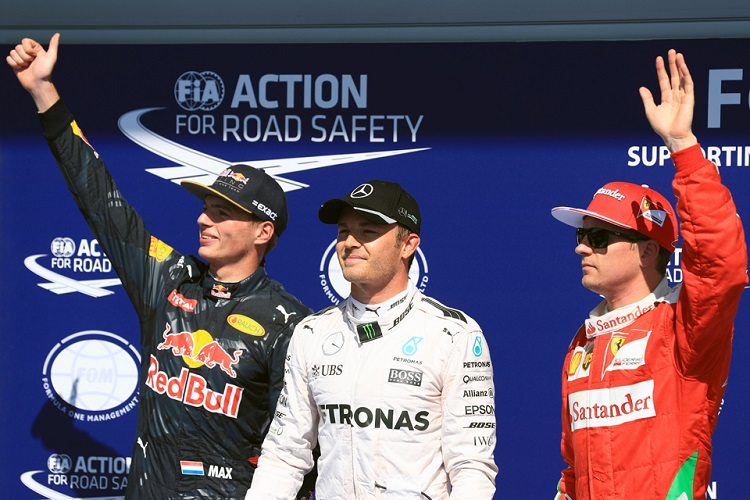 Nico Rosberg, Max Verstappen and Kimi Raikkonen (Credit: Octane Photographic Ltd)