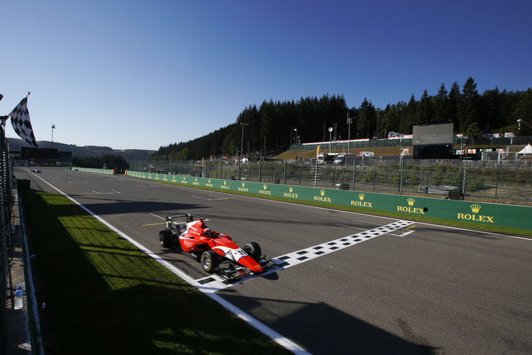 Jack Aitken (GBR, Arden International) crosses the line  2016 GP3 Series Round 6 Spa - Francorchamps, Spa,  Belgium Sunday 28 August 2016  Photo: /GP3 Series Media Service ref: Digital Image _SLA4837
