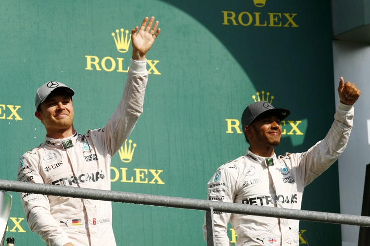 Nico Rosberg and Lewis Hamilton - Credit: Mercedes AMG PETRONAS Formula One Team