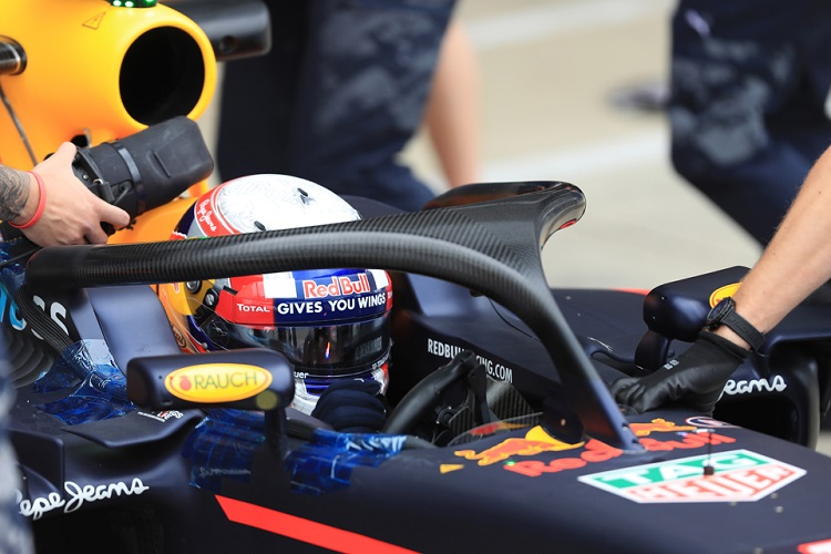 Pierre Gasly tested the Halo system at the post-Silverstone test (Credit: Octane Photographic Ltd)