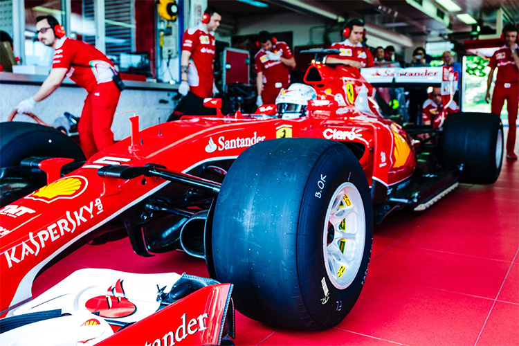 Vettel before heading out on the 2017 tyres - Credit: Pirelli