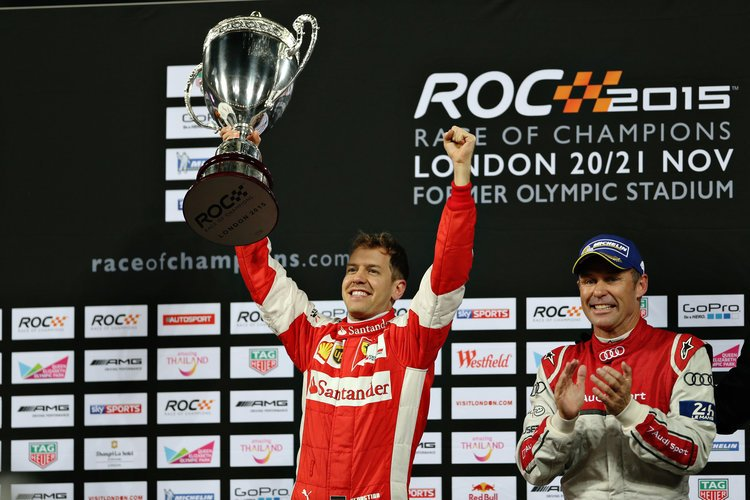 Sebastian Vettel (GER) celebrates his Race of Champions win on the podium with Tom Kristensen (DMK)