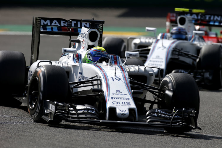 Spa-Francorchamps, Spa, Belgium.. Sunday 28 August 2016. Felipe Massa, Williams FW38 Mercedes, leads Valtteri Bottas, Williams FW38 Mercedes. Photo: Sam Bloxham/Williams ref: Digital Image _SLA5887. Credit: Williams Martini Racing