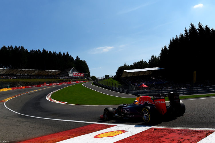 SPA, BELGIUM - AUGUST 22:  Daniel Ricciardo of Australia and Infiniti Red Bull Racing drives during qualifying for the Formula One Grand Prix of Belgium at Circuit de Spa-Francorchamps on August 22, 2015 in Spa, Belgium.  (Photo by Lars Baron/Getty Images). Credit: Red Bull Content Pool