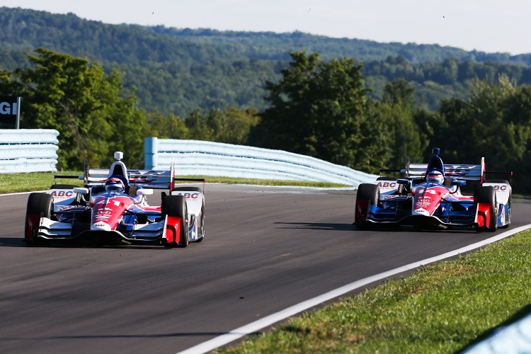 Jack Hawksworth leads team-mate Takuma Sato at Watkins Glen - Credit: Bret Kelley / IndyCar