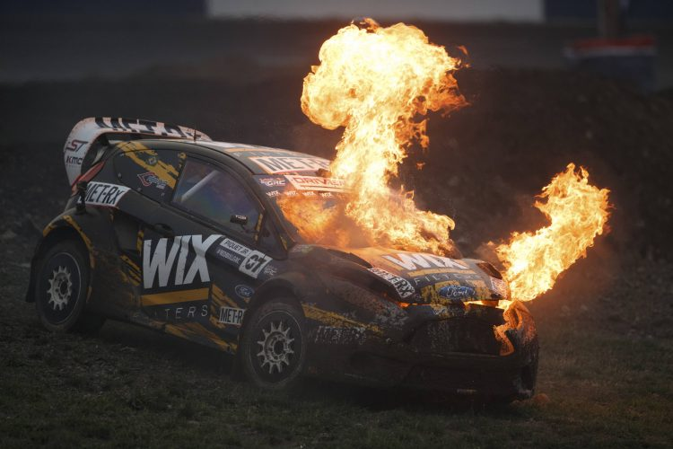 Nelson Piquet Jr.'s day was ended ofter this huge fire - Credit: Larry Chen/Red Bull Global Rallycross