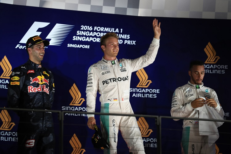 The top three celebrate after the Singapore Grand Prix - Credit: Octane Photographic Ltd