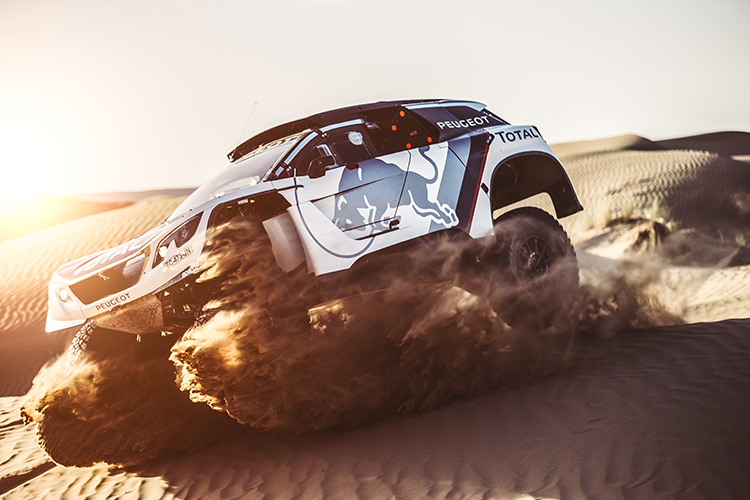 Stephane Peterhansel from Team Peugeot Total performs during a test run with the new Peugeot 3008 DKR in Erfoud, Morocco on September 17, 2016 // Flavien Duhamel/Red Bull Content Pool // P-20160929-00443 // Usage for editorial use only // Please go to www.redbullcontentpool.com for further information. //