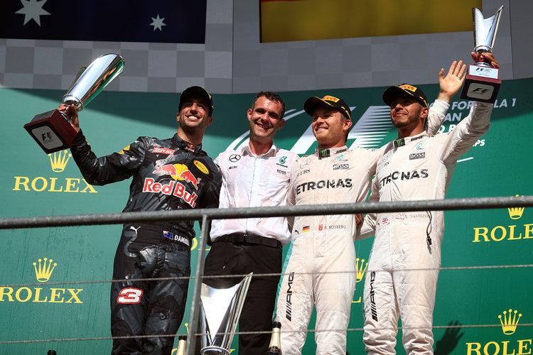 World © Octane Photographic Ltd. Mercedes AMG Petronas – Nico Rosberg, Red Bull Racing – Daniel Ricciardo and Lewis Hamilton. Sunday 28th August 2016, F1 Belgian GP Race Podium, Spa-Francorchamps, Belgium. Digital Ref : 1693LB1D3311
