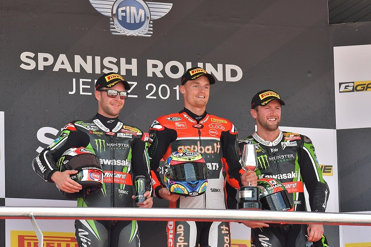 The podium finishers in race two (Photo Credit: Ducati)