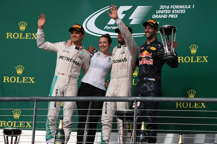 The top three celebrate with Mercedes' Victoria Vowles at COTA - Credit: Octane Photographic Ltd