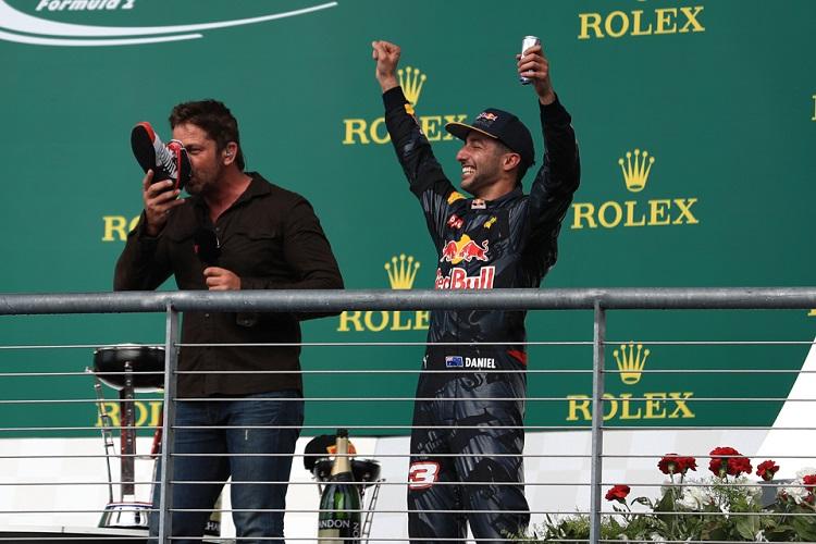 Daniel Ricciardo and Gerard Butler - Credit: Octane Photographic Ltd